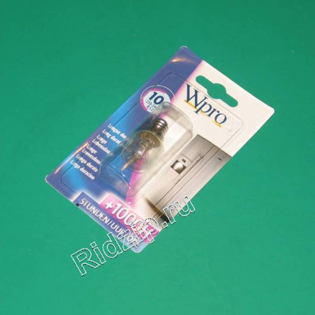 484000000980 - Лампа 10W E-12  к холодильникам Whirlpool, Bauknecht, IKEA (Вирпул, Баукнехт, ИКЕА)