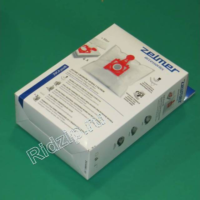 BSZM 12006468 - Набор (4 мешка для сбора пыли + 1 фильтр) красный  ZVCA300B к пылесосам Zelmer (Зелмер)
