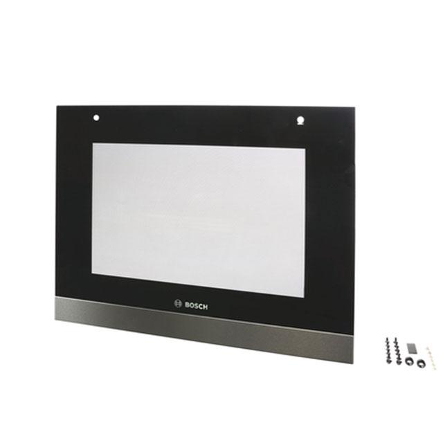 BS 688385 - Внешнее стекло дверцы духового шкафа, чёрный/нерж.сталь к плитам, варочным поверхностям, духовым шкафам Bosch, Siemens, Neff, Gaggenau (Бош, Сименс, Гагенау, Нефф)