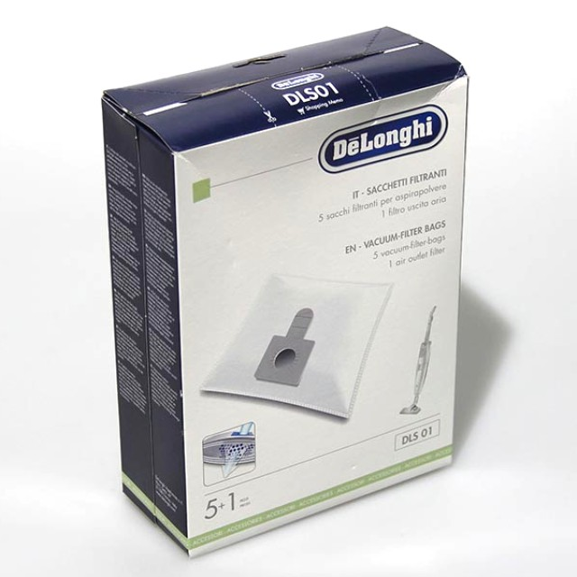 DL 5519210181 - Комплект 5 мешков-пылесборников + микрофильтр к пылесосам DeLonghi (ДеЛонги)